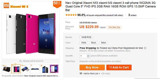 Purchase Xiaomi on Aliexpress