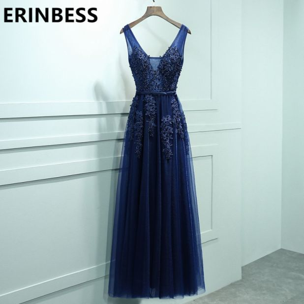 aliexpress dress navy blue