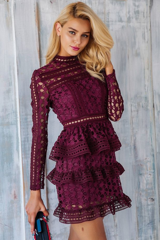 burgundy dress with aliexpress lace