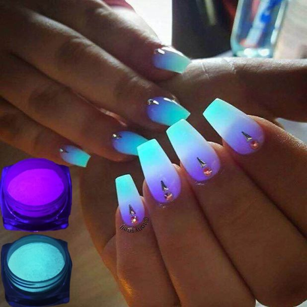 phosphorescent neon nail powder