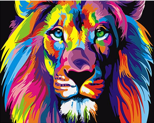 self-painting picture lion